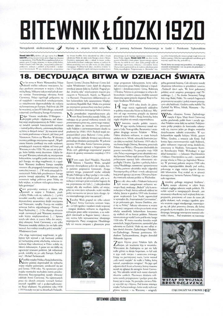 Pierwsza strona Bitewnika Łódzkiego