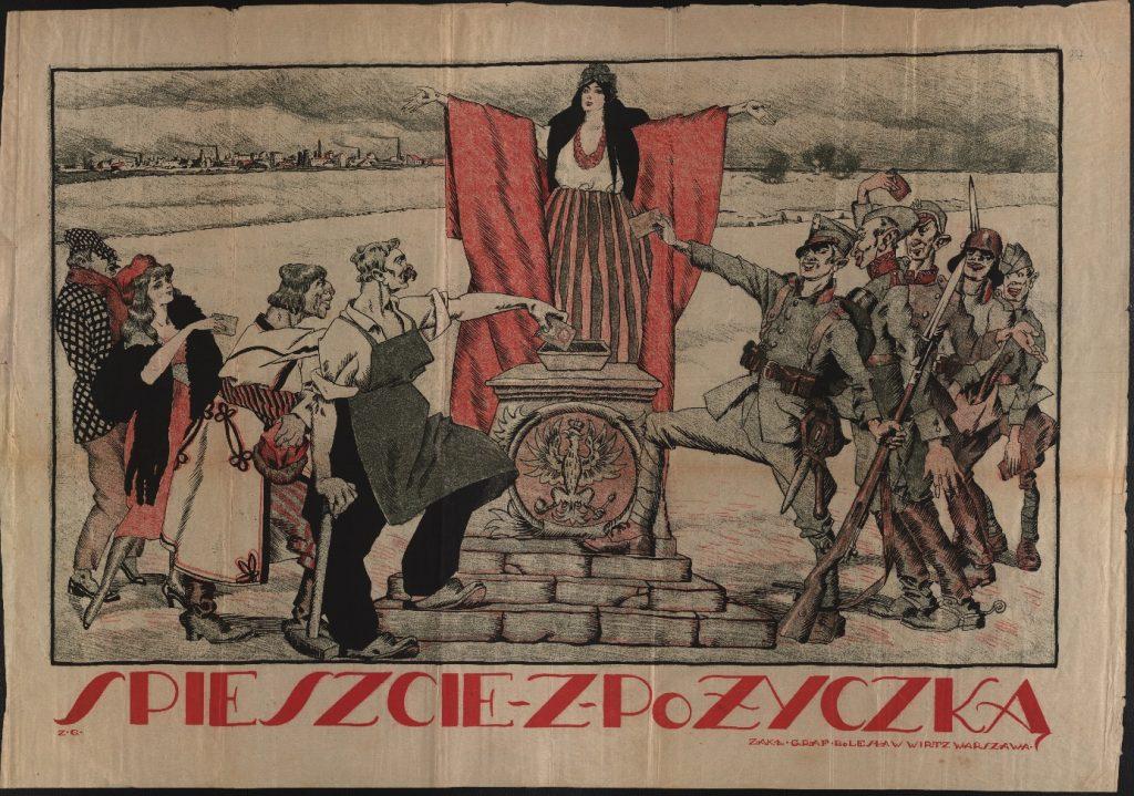 Ilustracja przedstawia plakat z wystawy - wzywający do wsparcia Pożyczki Odbudowy Polski