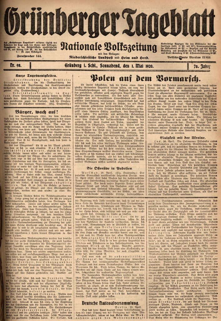 """Zdjęcie przedstawia materiał z wystawy - Pierwszą stronę """"Grünberger Tageblatt"""" z 1 maja 1920 r. temat numeru –""""Polen auf dem Vormarsch"""""""