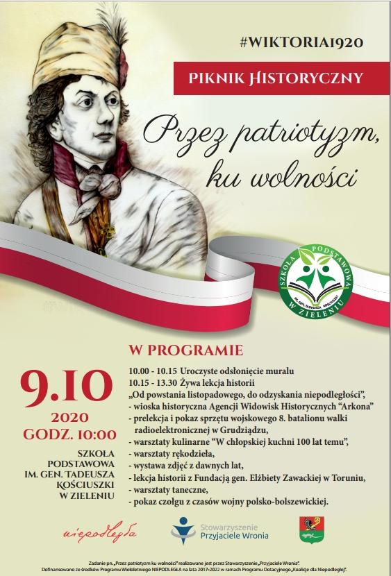 Na plakacie znajduje się wizerunek Tadeusza Kościuszki oraz wymienione są atrakcje przewidziane na pikniku.