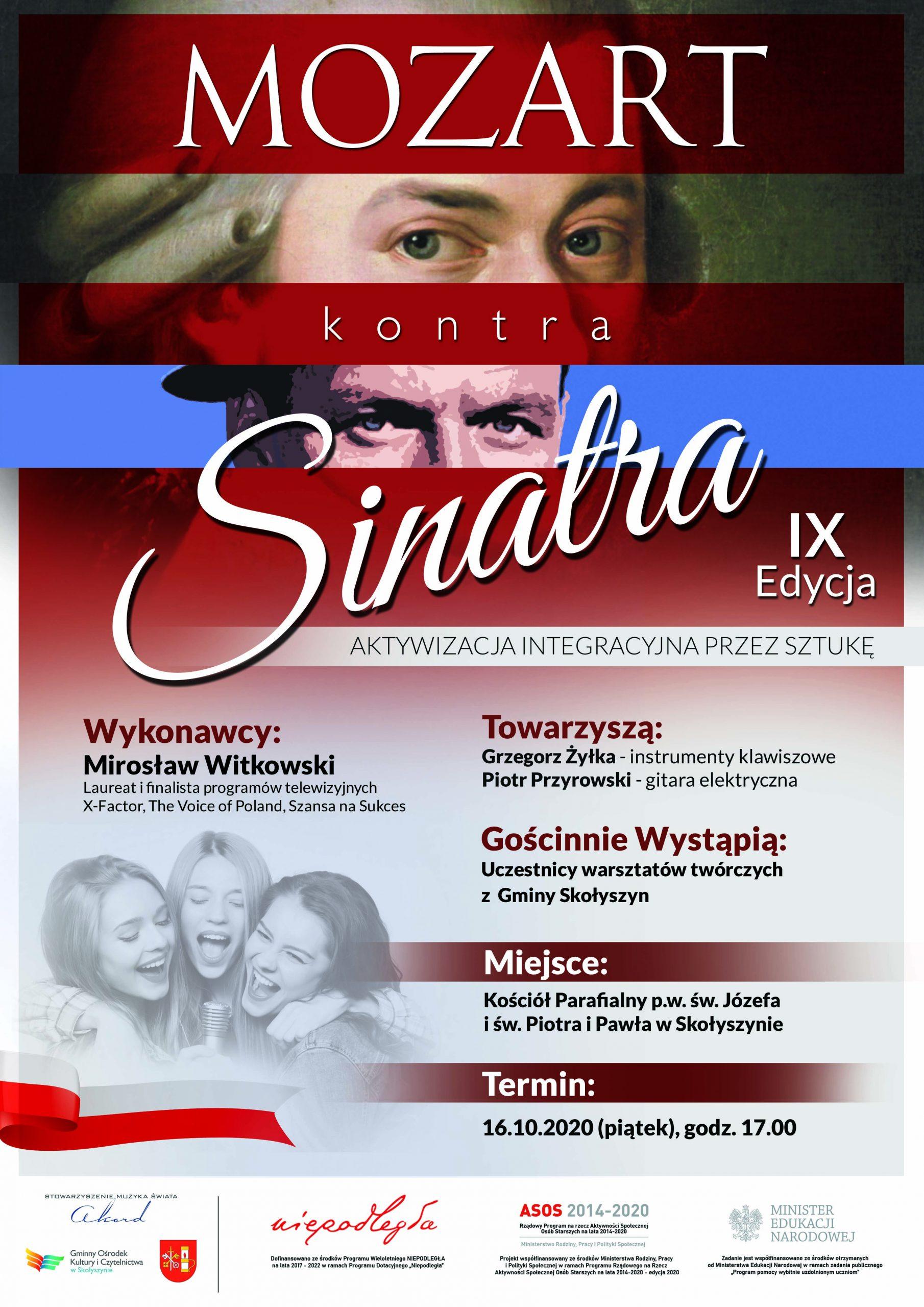 """Koncert galowy w ramach projektu """"Mozart kontra Sinatra – Aktywizacja Integracyjna przez Sztukę"""" IX edycja - Niepodległa - stulecie odzyskania niepodległości"""